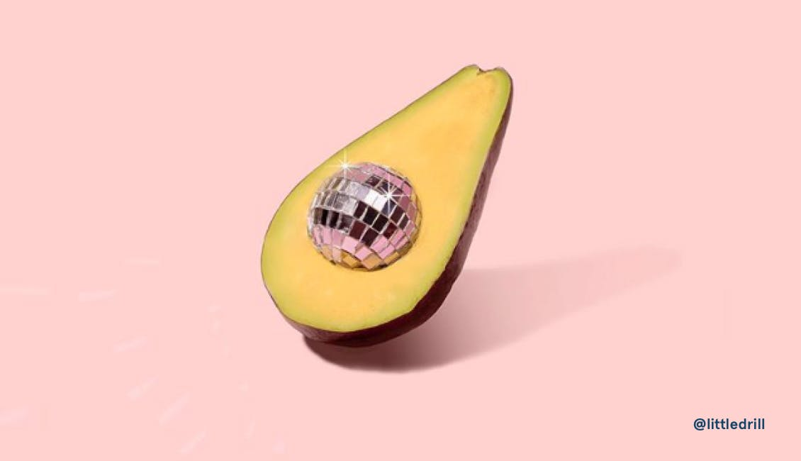 Image of avocado with disco ball in the pit made by photographer