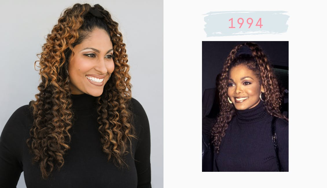 Image of esalon employee on left dressed as janet jackson with curls and black turtleneck and right image of janet jackson in 1994