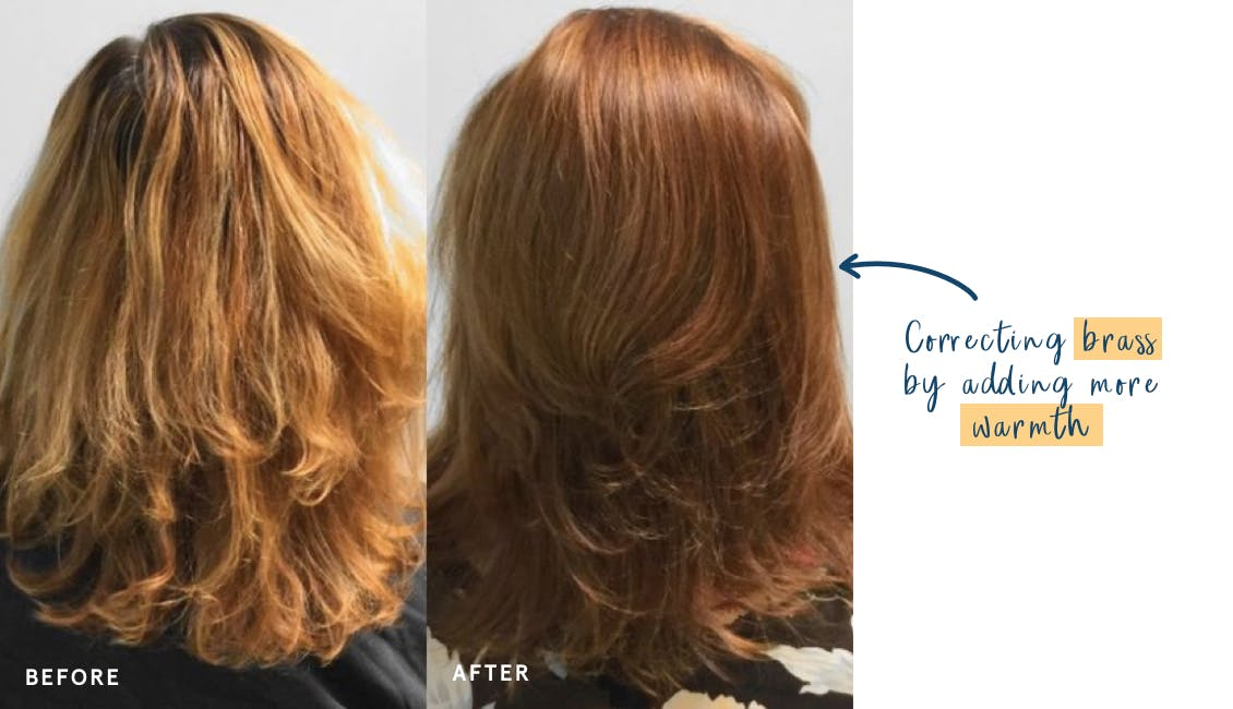 Image of woman before on the left with lots of brassy tones in her hair and image on right shows how to counteract brass by adding warmth which can improve the hair color with eSalon