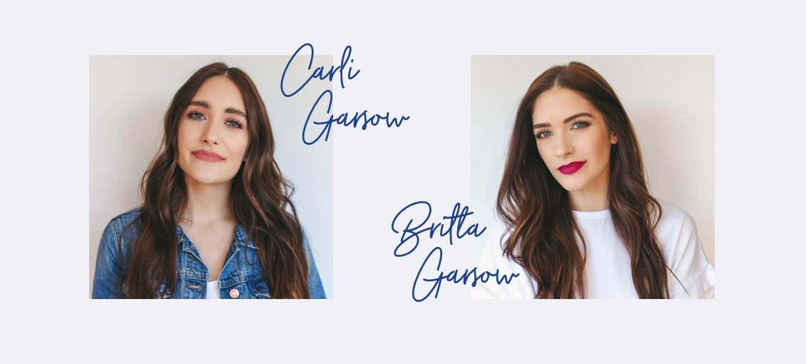 Image of Carli Garsow on left and Britta Garsow on right, both with esalon custom hair colors