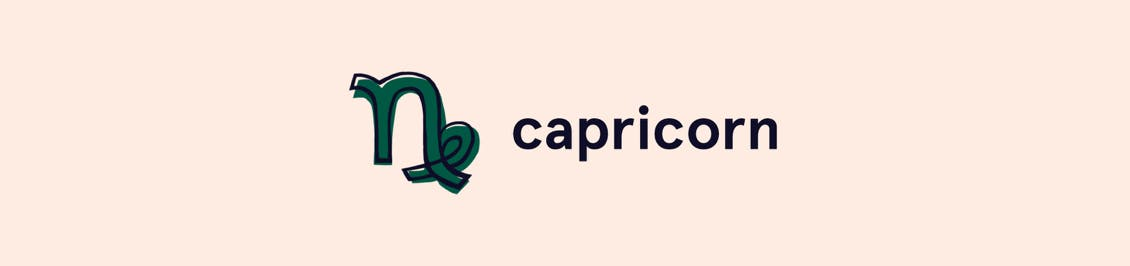 Image of capricorn zodiac symbol as header in color horoscope section featured in color mastery