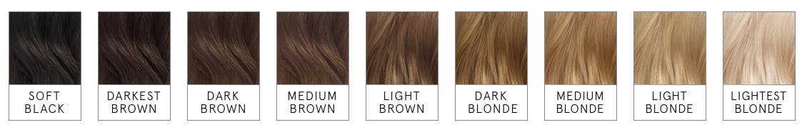 Image of hair color ranges when looking to go lighter or darker by one two shades