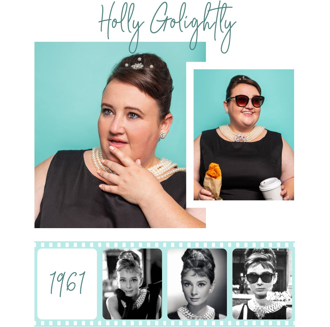 Image of esalon employee as holly golightly from breakfast at tiffany's with images of orignal look from 1961 below