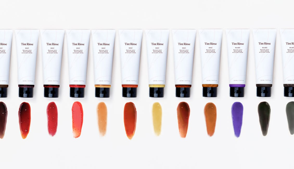 Image of 12 shades of eSalon's Tint Rinse and their swatches