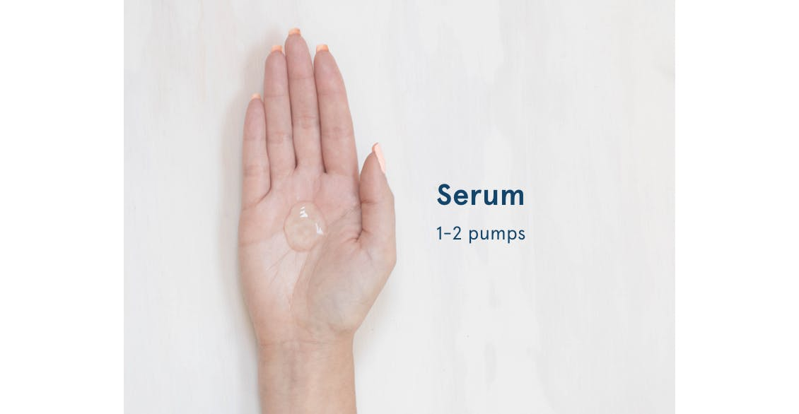Image of hand with 1-2 pumps of serum in palm to show the proper amount to use in hair