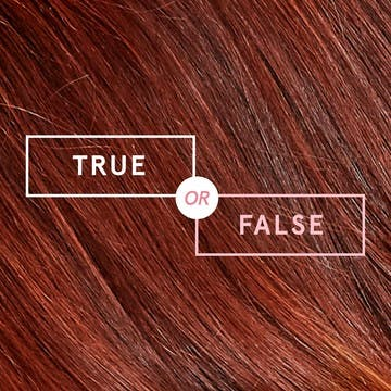 Image of hair swatch background with text overlay that says true or false for esalons color mastery blog about hair myths