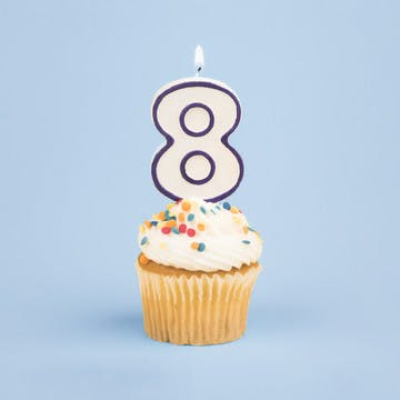 Image of cupcake with number 8 candle for esalon's 8th birthday