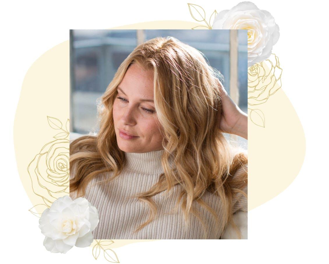 eSalon client Rene with custom home Buttermint Camellia hair color.