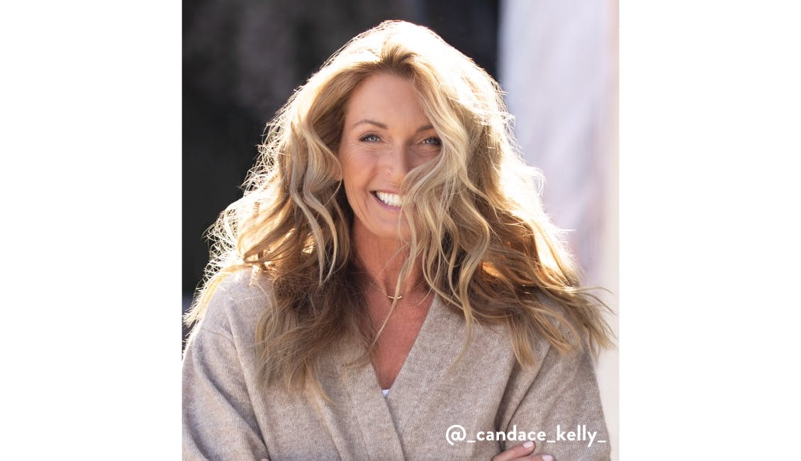 eSalon client Candace in her custom Bourbon Brulee Blonde hair color for the holidays.