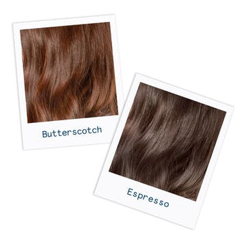 Image of two brunette hair colors in a cool custom butterscotch shade and a cool espresso brunette hair color for inspiration
