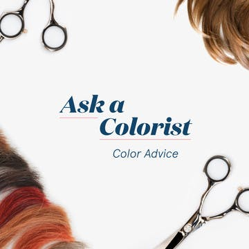 Image of hair color swatches on white background with scissors and title of article
