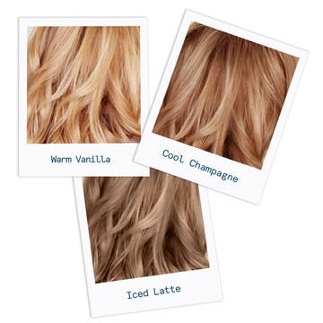 Image of three custom blonde hair colors in a range from light to medium blonde and warm to cool tones with warm vanilla on the left iced latte in the middle and a cool champagne on the right