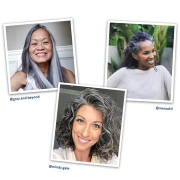 Image of three influencers with gray hair color embracing their look with confidence