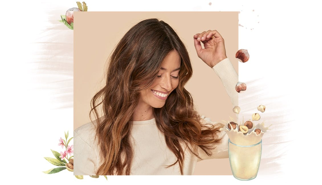 eSalon client uses award-winning Color Set to create this warm Hazelnut Delight medium brunette hair color with light and bright golden tones, formulated by her personal colorist.