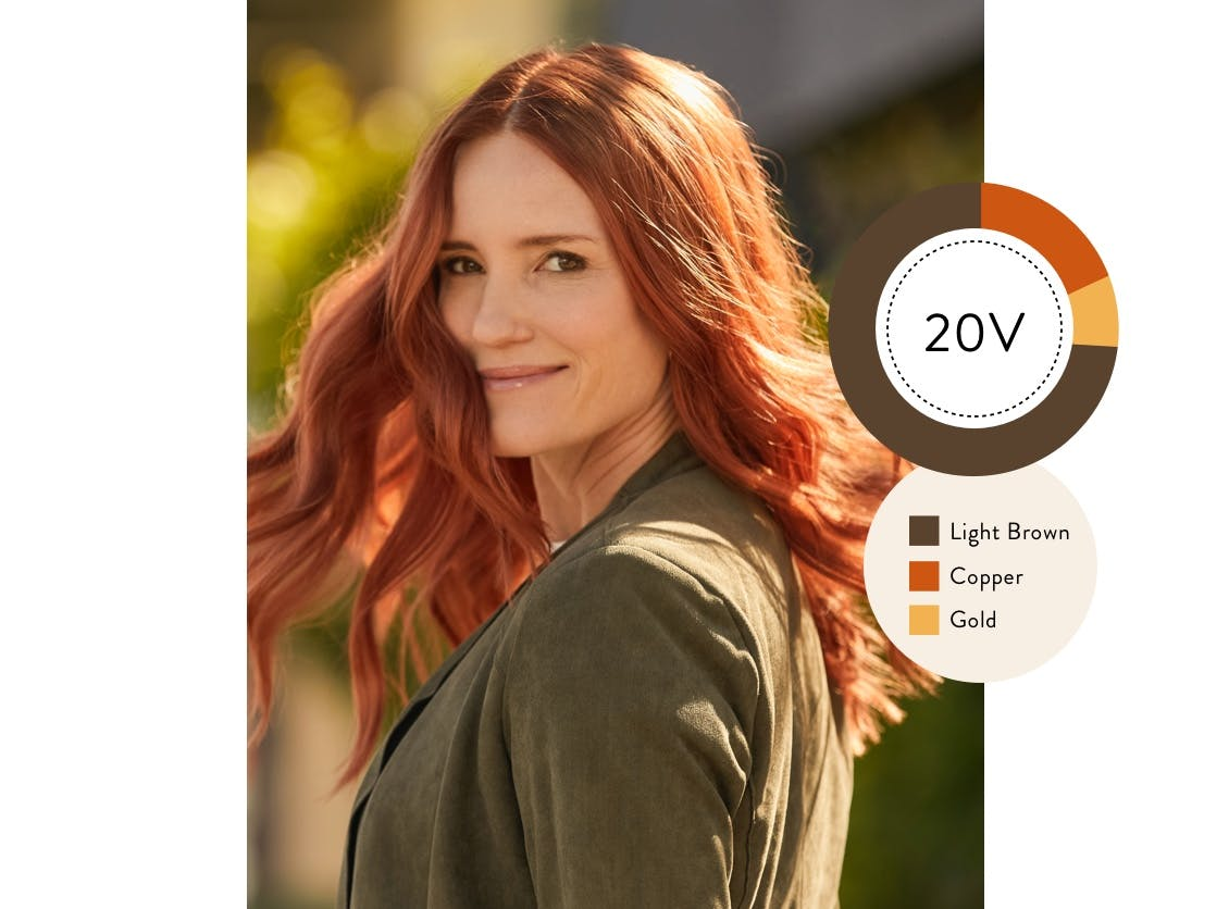 eSalon client with her custom home hair color in courageous copper.