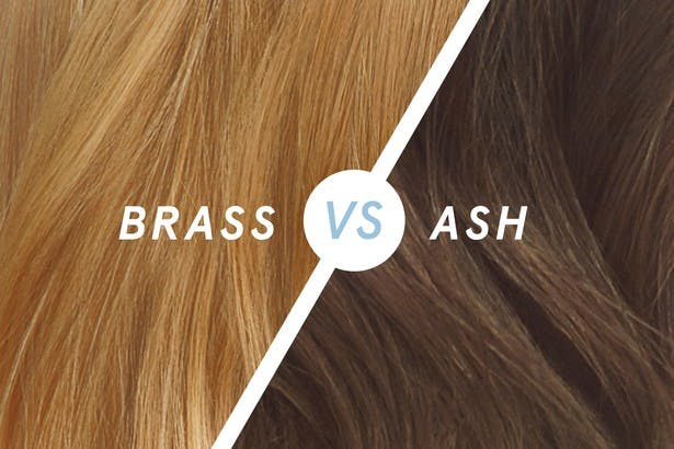 Image of splitscreen with hair that has brass tones on one side and hair with ash tones on the other to compare the differences