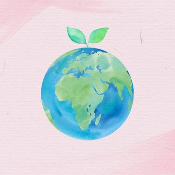 Watercolor illustration of planet Earth as we celebrate Earth Day with sustainability here at eSalon, AURA, and Colorsmith.