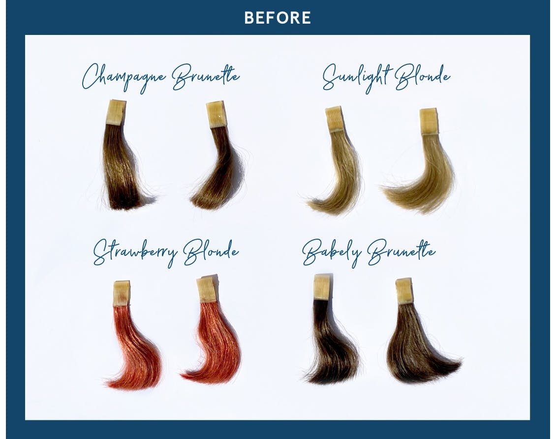 Hair color swatches of eSalon's custom hair color to show how hair color fades over time.