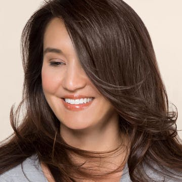 Image of woman with shiny, healthy, brunette hair