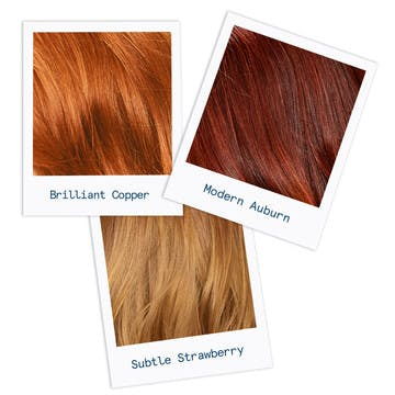 Image of three shades of custom red hair color in copper, auburn, and strawberry to inspire your hair color change