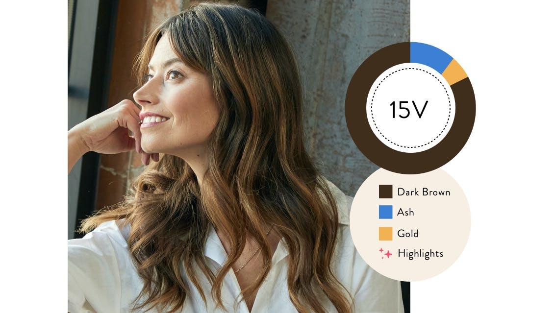 eSalon client with her custom home hair color in trailblazer brunette.
