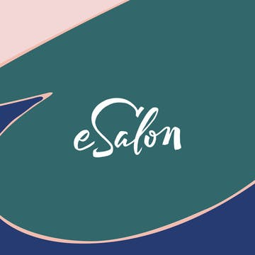 Image of esalon logo on green pink and blue pattern