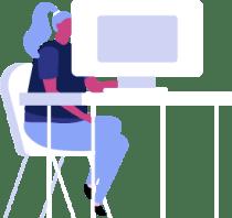 Ilustração de mulher sentada em mesa, mexendo no computador