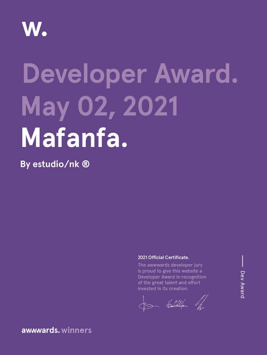 Developer Award Awwwards