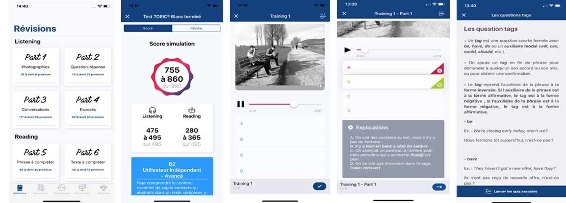 Screenshot of the Super Prepa for the TOEIC test app