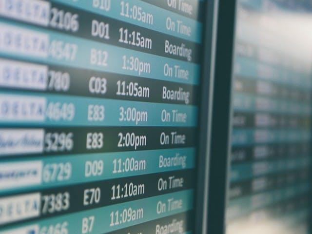 Tableau affichage aéroport