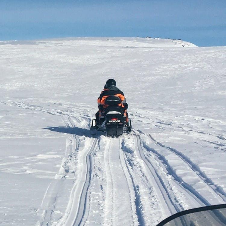 Snowmobiling Across Myrdalsjokull Glacier