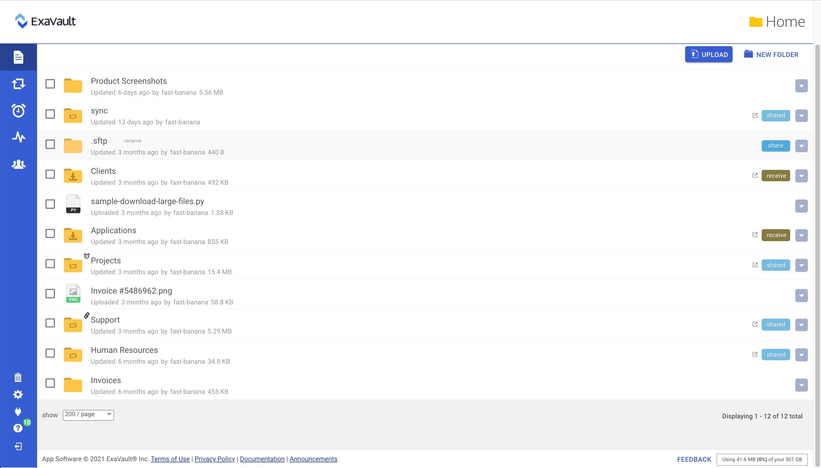 Creating SFTP folder.