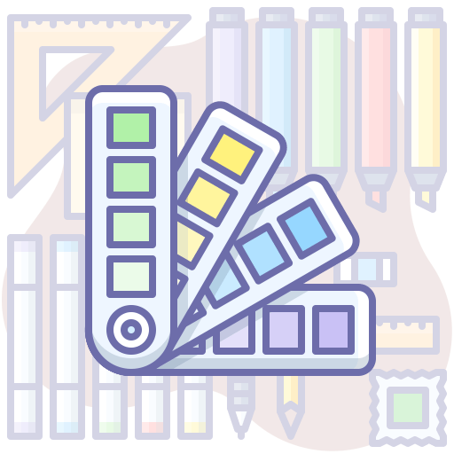 Color samples and design tools.