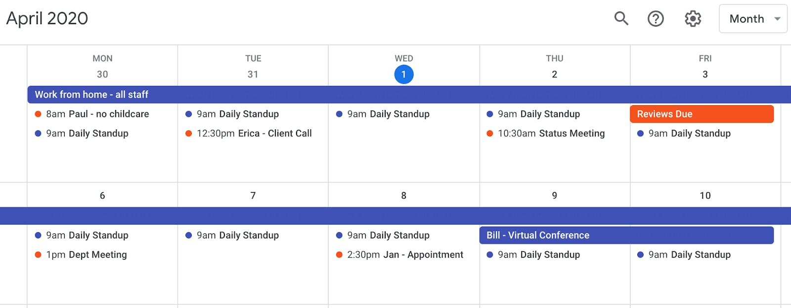 Google calendar with meetings and events.