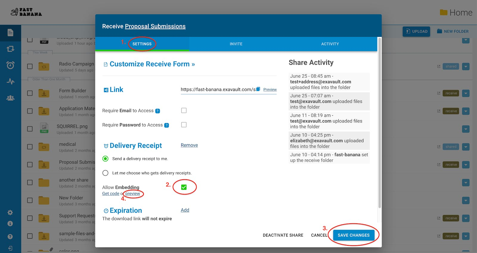 Where to find the enhanced form preview link.