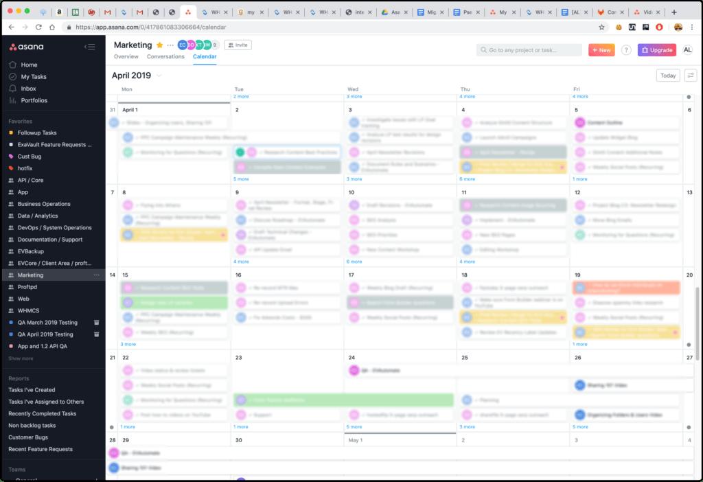 Asana project management calendar view.