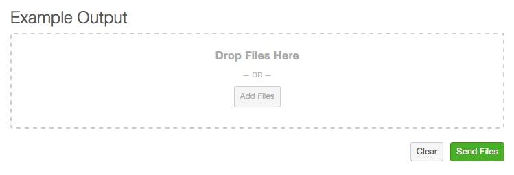 ExaVault uploader widgets, drag and drop example.