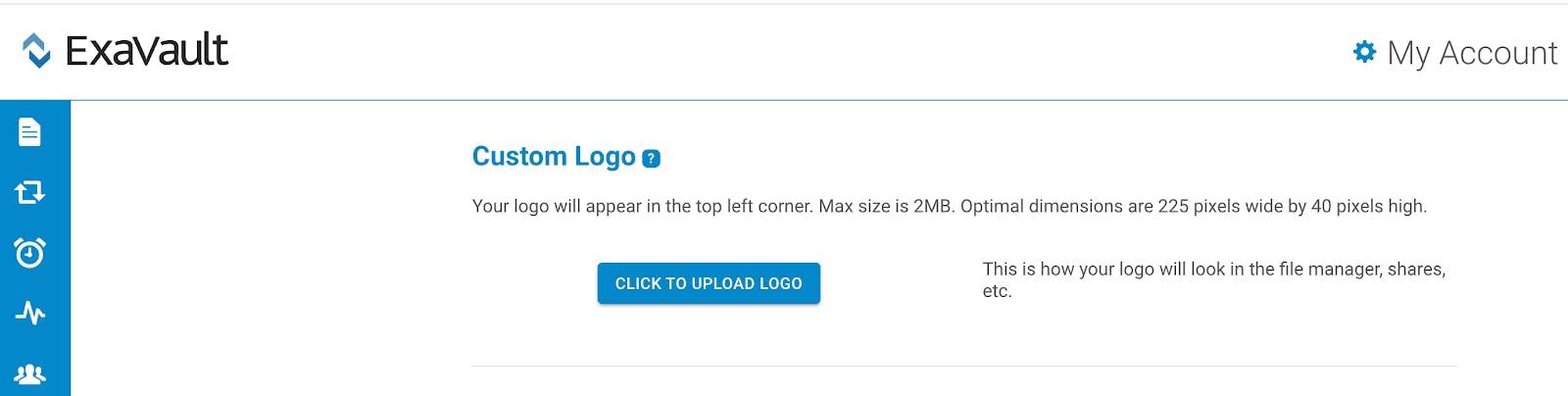 Upload a custom logo.