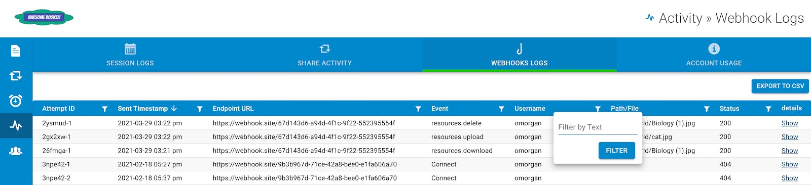 Advanced filtering for webhook logs.