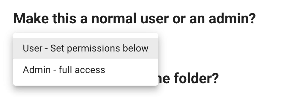 Option to create a normal or admin user for your SFTP site.