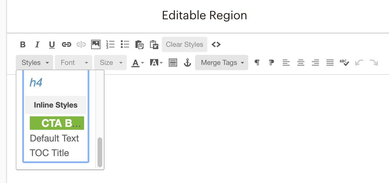 Newsletter content style options dropdown menu.