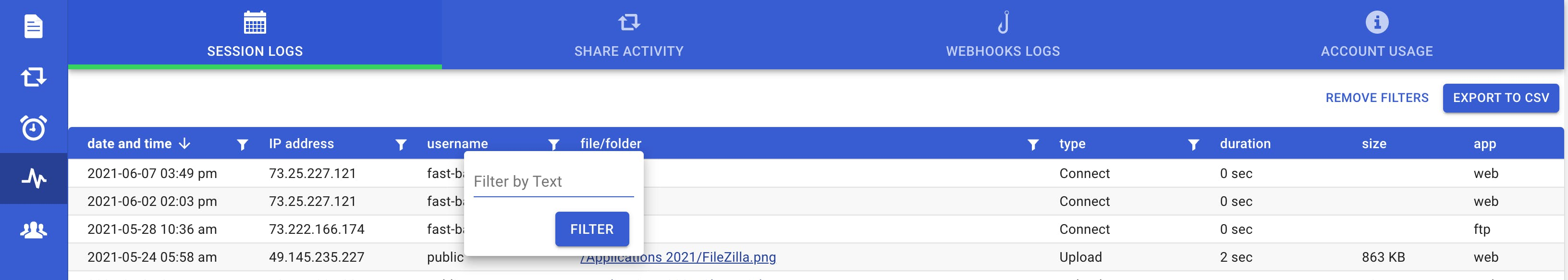 Secure sharing activity logs filters.