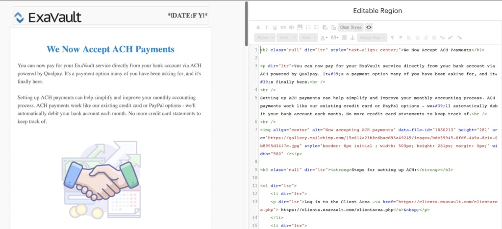 Editing email content in HTML with preview.