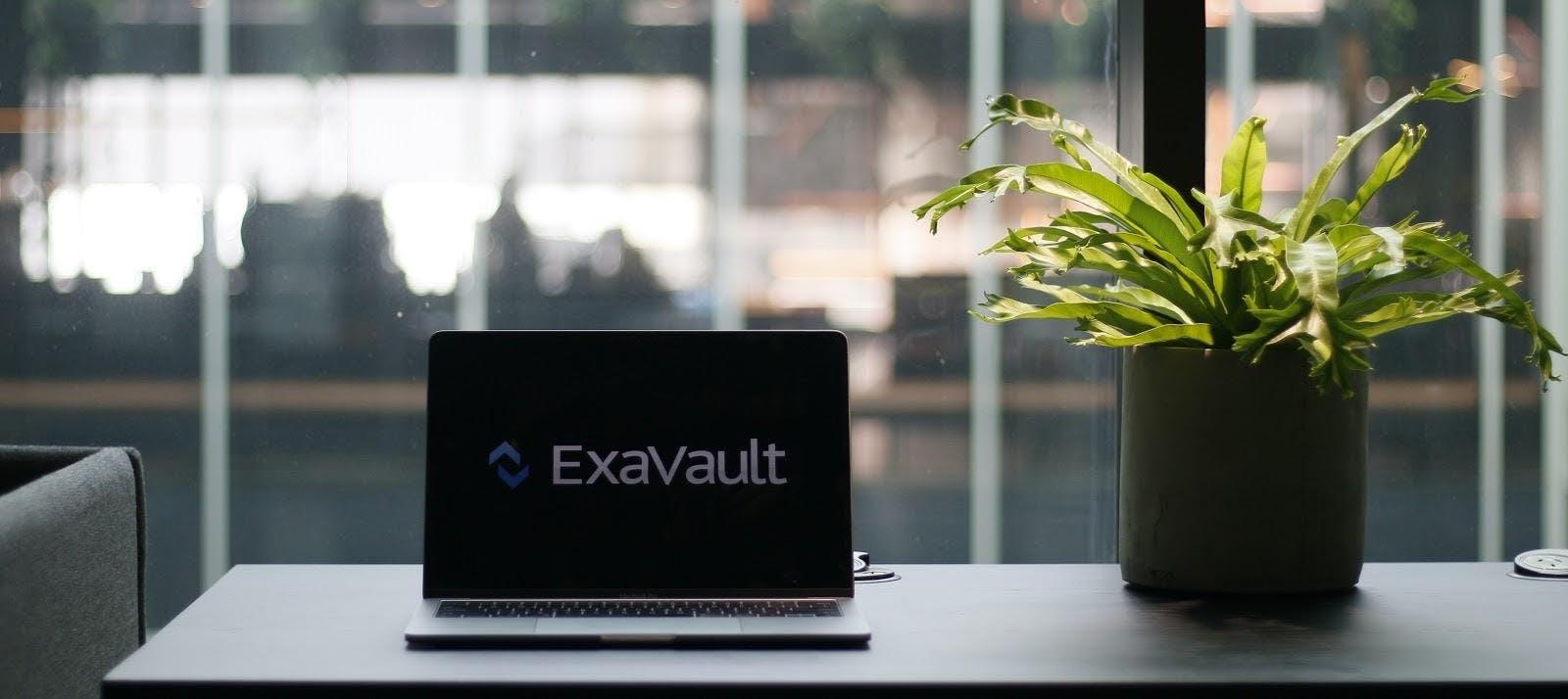 ExaVault logo on computer screen.