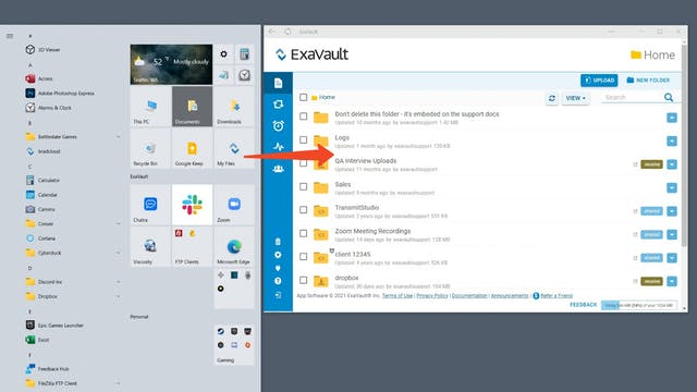 Open ExaVault directly from your Windows start menu.