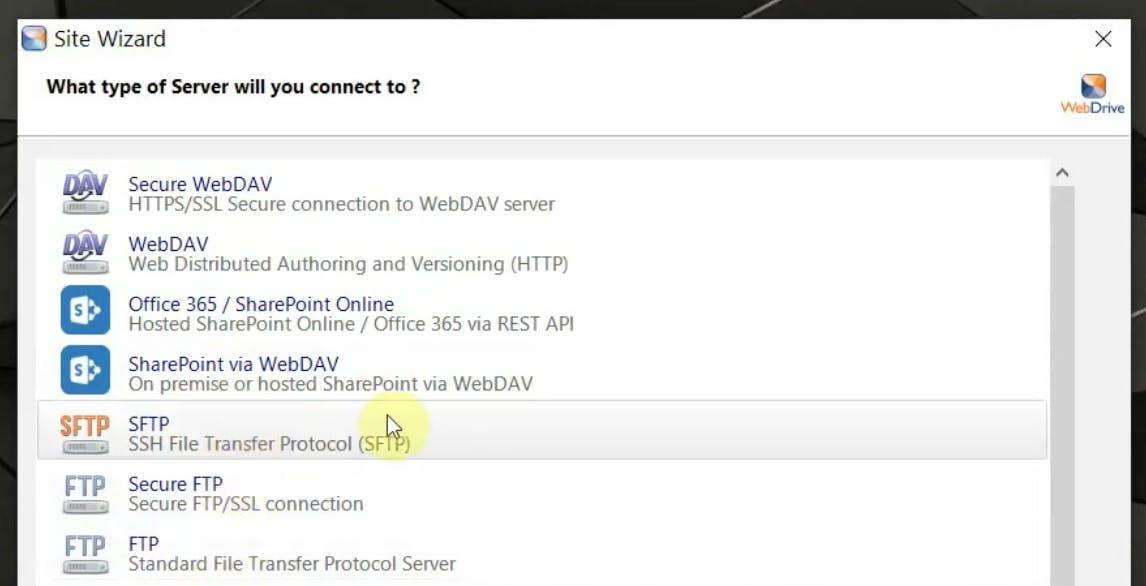 WebDrive server connection setup.