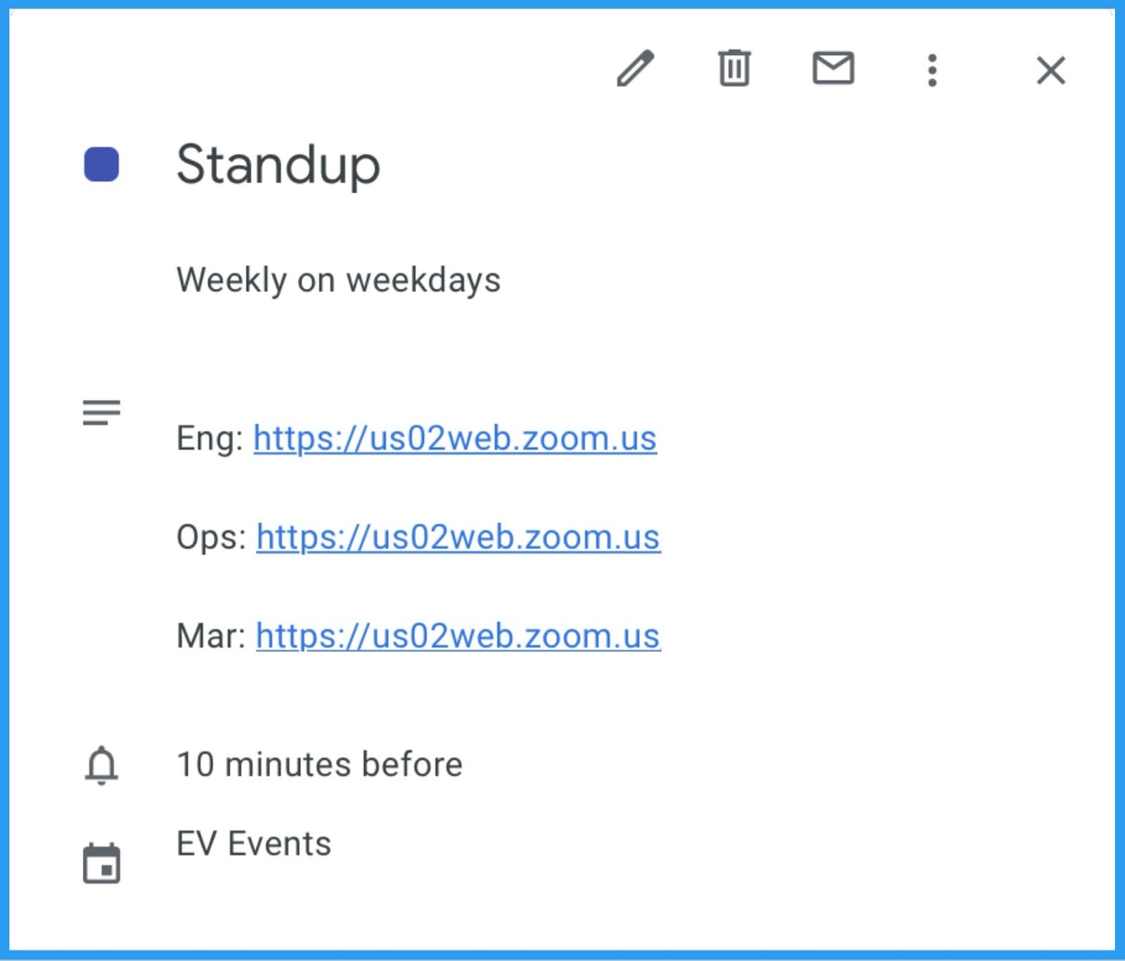 Stand-up calendar event divided into three meetings.