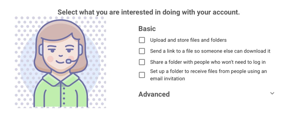 Select what you are interested in doing with your account to activate user onboarding.