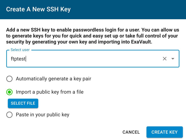 Create a new SSH key.
