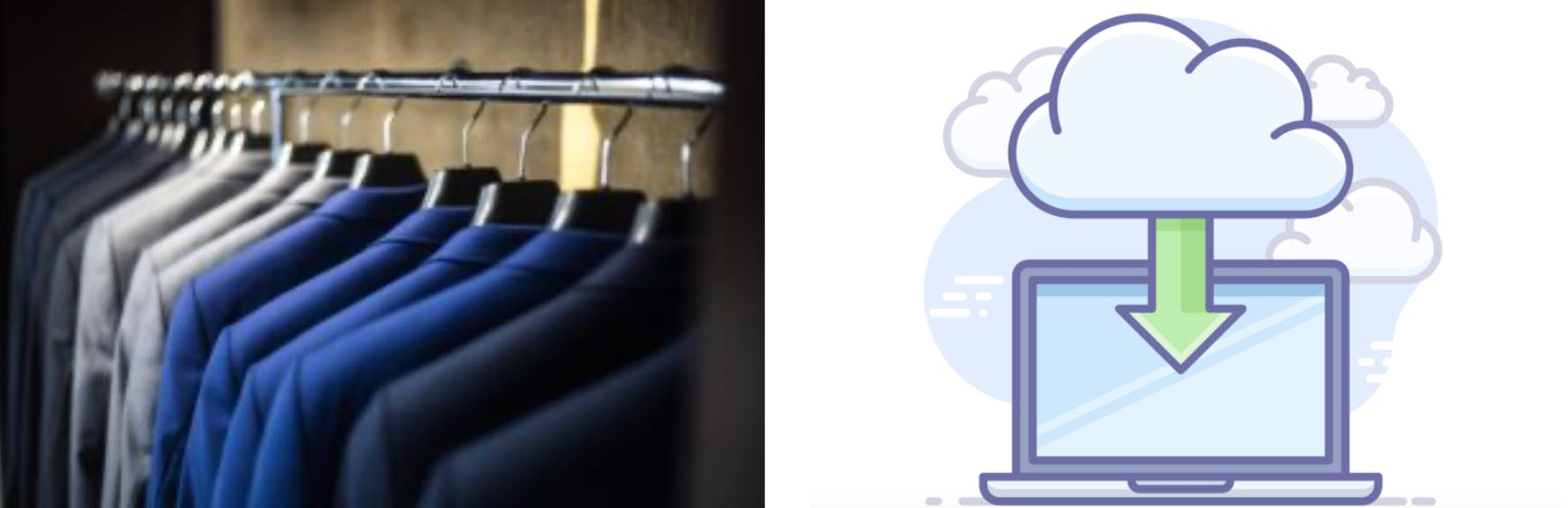 Comparing organized closet to online storage in the cloud.